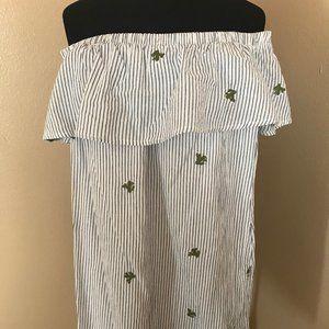 PPLA Off Shoulder Pin-Striped Dress